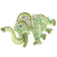 Buy the Green Elephant Swarovski Crystal Pin Brooch at mariescrystals.com
