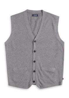 Chaps Steel Heather Combed Cotton Sweater Vest