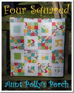 """Hello, again from northern Virginia! I'm Polly from Aunt Polly's Porch,with a fun and fast quilt just in time to put out for spring!I used the bright and graphic """"Half Moon Modern"""" collection f..."""