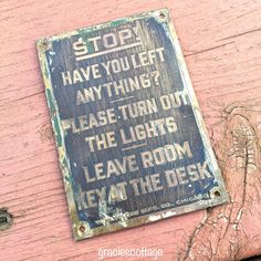 #Vintage #Hotel Room #Brass Tiny #Sign Left Anything by #GraciesCottage