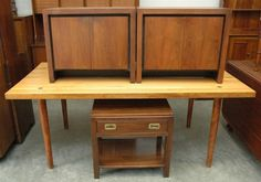 """Butcher Block Kitchen Table 72""""x36""""x29"""" with Pair of Mid-Century Night Table 27""""x15.5""""x22.5"""" and Ethan Allen Night Table with Brass Pulls 24""""x17""""x23"""""""