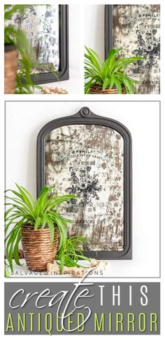Create This Antiqued Mirror | Easy Mirror Makeover Tutorial | Salvaged Inspirations #siblog #salvagedinspirations #paintedfurniture #furniturepainting #DIYfurniture #furniturepaintingtutorials #howto #furnitureartist #furnitureflip #salvagedfurniture #furnituremakeover #beforeandafterfurnuture #paintedvintagefurniture #roadsiderescues #chalkpaint #chalkpaintedfurniture #diyprojects #diyfurnituremakeover #furniturerestoration #furnitureideas Diy Mirrored Furniture, Salvaged Furniture, Chalk Paint Furniture, Furniture Restoration, Furniture Makeover, Vintage Furniture, Diy Furniture, Antiqued Mirror, Mirror Makeover