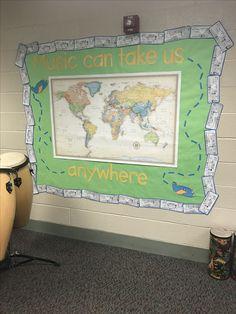 World musics map Travel Bulletin Boards, Music Bulletin Boards, Music Room Organization, School Organization, Music Classroom, Classroom Decor, World Music, Music Education, Board Ideas