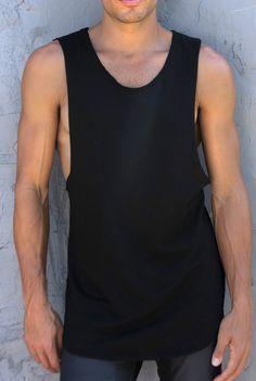 Organic Cotton Long Muscletank Black - K4K #tanktop #menstank #muscletank #cotton #modal #madeinusa #dtla #k4k #longbody #longtank #extendedtank #mensfashion #menssummerstyle #gym #gymwear #beach #surf #shopredcar7