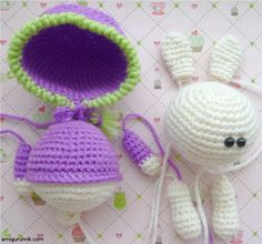 Вяжем Амигуруми Зайчика  ( in English) How to Knit Crochet Amigurumi Bunny      Inspired by the work of Anastasia (hare in the hood), could not resist and that's what I did.