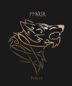"borboranoir: "" Fenrir Sigil He's the son of the god Loki and the giantess Angrboða, brother of the serpent Jormungand and the underworld goddess Hel. Requested by various people """