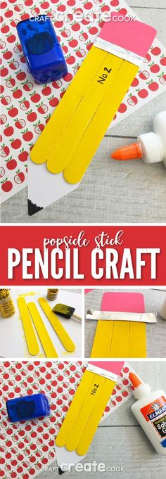 This Popsicle Stick Pencil Craft is a great craft to get your little ones excited about the school year! via @CraftCreatCook1