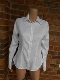 CHARLES TYRWHITT Women Shirt Size US 8 UK 10 Blouse Top 100% Cotton White #CharlesTrywhitt #Blouse #Casual