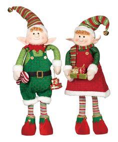 Look what I found on #zulily! Standing Elf Figurine Set #zulilyfinds