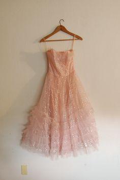 Vintage 1950's Pink Tulle Dress.