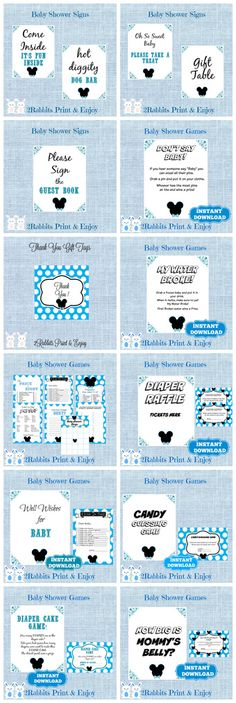 All you need for your Mickey Mouse Baby Shower. Games, signs and gift tags !! and if you want something more personalized we are for any help!! https://www.etsy.com/shop/2RabbitsPrintEnjoy?search_query=mickey+mouse   #etsypartyshop #partydigitalfiles #babyshowergames