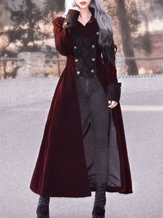 Wine Red Double Breasted Gothic Long Coat for Women Mode Kpop, Gothic Mode, Mode Costume, Fantasy Dress, Mode Vintage, Vintage Goth, Gothic Outfits, Cosplay Outfits, Character Outfits