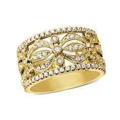 {Extraordinary} Diamond Filigree Fashion Band in Gold Wide Wedding Bands, Zales Jewelry, Diamond Bands, Corporate Gifts, Filigree, Costume Jewelry, Cuff Bracelets, Gems, Bling