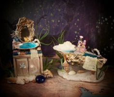 19th Day Miniatures Works in Progress: Miniature Under the Sea Shell Tub, Sink Set Complete :)