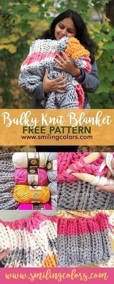 Knitting patterns free. An easy Bulky Knit Blanket Free Pattern that uses three strands of yarn held together to quickly knit up an afghan/blanket. Smitha Katti/www.smilingcolors.com