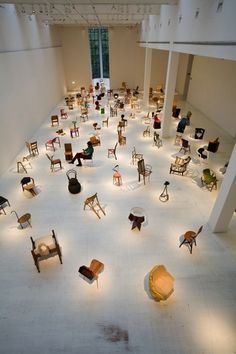chairs in gallery installation Architecture Design, Exhibition, Funny Tattoos, Wedding Quotes, Design Museum, Blogger Themes, Outdoor Travel, Graphic, Photo Wall