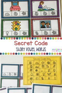 Students will love working on these secret code cards. Students use the key to spell out short vowel words. Teachers can use this activity in literacy centers, small groups and more. A fun way for students to work on phonics sounds while practicing their spelling and writing. One set has pictures to help guide students to what the word may be.The second set has just the secret word. Students can use letters to build each secret word. Worksheets and answer key are included.