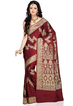 Woven Pure Banarasi Satin Silk Saree in Maroon