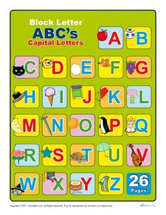 Alphabet Chart With Letters Alphabet Charts, Alphabet Worksheets, Letter Activities, Classroom Activities, Alphabet Capital Letters, Letter Flashcards, English Teaching Materials, 1st Grade Worksheets, Block Lettering