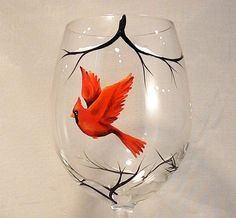 Wine glasses with Red Cardinal set of 2 by SilviasBrush on Etsy