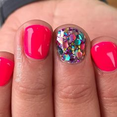 Tips for Chunky glitter summer nails in pink!!! By hilary dawn herrera