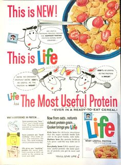 Life cereal was first introduced in 1961 Breakfast Cereal, Breakfast Time, Retro Recipes, Vintage Recipes, Retro Ads, Vintage Advertisements, Vintage Candy, Vintage Food, Le Club