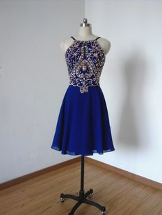 Royal Blue Homecoming Dress,Short Prom Dresses,Chiffon Homecoming Gowns,Fitted Party Dress,Silver Beading Prom Dresses,Sparkly Cocktail Dress,backless Homecoming Gown,2016 Style Glitter Evening Gowns