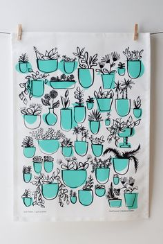 Potted Plants Tea Towel. Hand drawn plan by avrilloreti on Etsy
