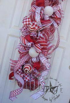 Candy Cane Christmas Deco Mesh Swag by DesignsbyJordanTX on Etsy, #Christmas Decor  http://christmas-decor-styles.lemoncoin.org