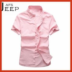 AFS JEEP Fashion Design Autumn/Spring Man's candy color leisure slim college male's short sleeve shirt,Color del caramelo camisa