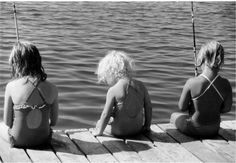 3 girls fishing (unknown)  awwww, this could be Michelle, Samantha & myself (too stinkin' cute)