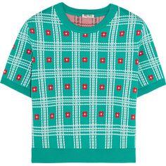 Miu Miu Intarsia cotton sweater featuring polyvore, women's fashion, clothing, tops, sweaters, miu miu, blue, blue crop top, flower print sweater, cotton crop top, colorful crop tops and multi colored sweater
