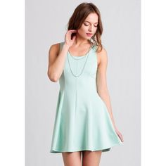 Ruche On The Dock Dress ($35) ❤ liked on Polyvore featuring dresses, mint, round neck dress, shirred dress, mint green dress, mint dress and stretch dress