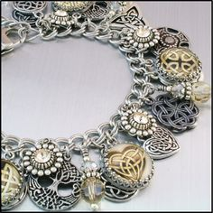 Celtic Jewelry Silver Charm Bracelet Irish by BlackberryDesigns, $123.00