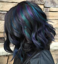 Choppy Black Bob With Mermaid Highlights