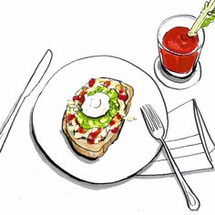 "Anna Goodson Illustration on Instagram: ""Lunch time. Cheese, tomato, sour cream and guacamole on toast with a glass of tomato juice 🥑🍅🧀🥪🥤 @claremallison . . . #lineart #lunchtime…"" Tomato Juice, Lunch Time, Sour Cream, Guacamole, Toast, Anna, Cheese, Illustration, Instagram"