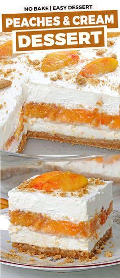 No Bake Peaches and Cream Dessert - Cakescottage