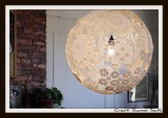 Diy Doily Balls For Wedding Decorations Not Just A Yarn Ball Super Neat Diy Lampshade Lace Balloons on Prettie Table Runner Shabby Rustic Paper Doilies Diy Weddings Lace Balloons, Doily Lamp, Diy Luminaire, Do It Yourself Inspiration, Style Inspiration, Diy Light Fixtures, Yarn Ball, Home And Deco, Crafty Craft