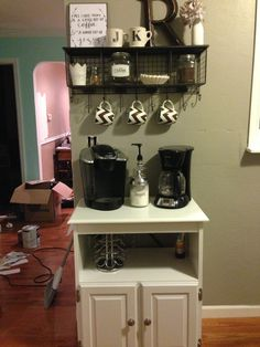 This is a cute way to do a coffee bar in a small space! @Kaitlyn Rembold Kudos!!!