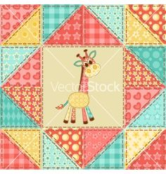 Giraffe quilt pattern vector - by nad_o on VectorStock®