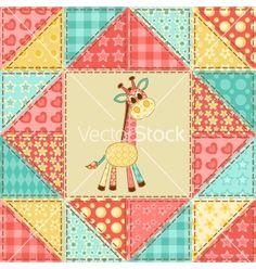 Giraffe quilt pattern vector - by nad_o on VectorStock®