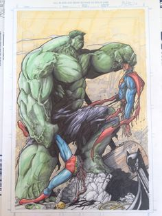 Hulk vs Superman. Notice Batman's mask on the I beam making it look like a pez dispenser.