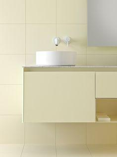 Glaze by Inbani. Lavabo Design, Interior Architecture, Interior Design, Yellow Bathrooms, Bathroom Collections, Bathroom Inspiration, Glaze, Sink, Wall Lights