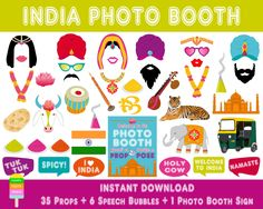 PRINTABLE India Photo Booth Props–Photo Booth Sign-Indian Wedding Props-India Party Props-Bollywood-India Travel Props-Instant Download by HappyFiestaDesign on Etsy