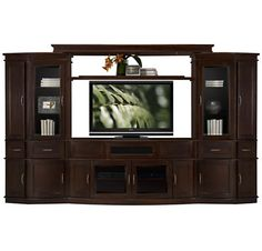 """cornel dark tone large entertainment wall inspiration for a """"shrunK'-like wall unit in living room. I want a way to safely display sculpture and keepsakes behind class as well as hide all my electronics games etc in one place safely away from the cats."""