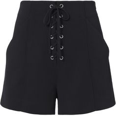 Kyle Lace-Up Shorts ($345) ❤ liked on Polyvore featuring shorts, navy, high rise shorts, side zip shorts, high-waisted shorts, laced shorts and side zipper shorts