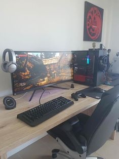 73 Most Popular Video Game Room Furniture Decor 50 Video Game Room Ideas to Maximize Your Gaming Experience Gaming Computer Setup, Simple Computer Desk, Best Gaming Setup, Gamer Setup, Gaming Room Setup, Pc Desk, Pc Setup, Gaming Rooms, Game Room Furniture