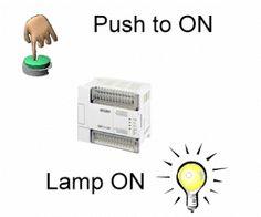 http://plc-scada-dcs.blogspot.com/2012/04/push-to-on-push-to-off-plc-program.html#axzz49RztvLC8   Read PLC programming here