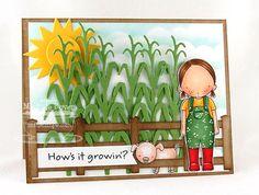 Pure Innocence Farmer Girl; Farm Fence Die-namics; Sunshine Die-namics; Corn Stalk Die-namics; Wonky Scallop Border Die-namics; Sentiment Strips Die-namics - Michele Boyer