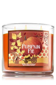 Pumpkin Pie Candle - Home Fragrance 1037181 - Bath & Body Works Bath Candles, 3 Wick Candles, Scented Candles, Candle Jars, Vanilla Candles, Candleholders, Bath N Body Works, Bath And Body, Lush Bath Bombs